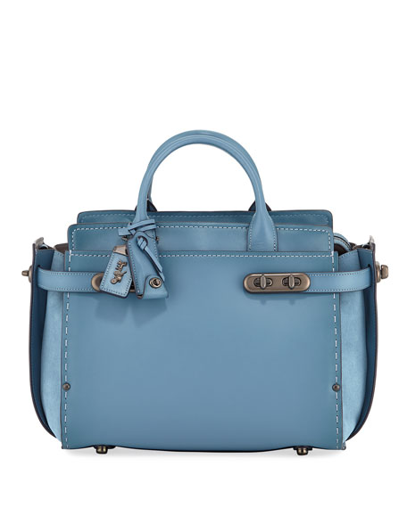Swagger Mixed-Leather Satchel Bag