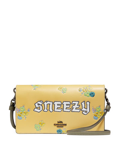 DISNEY X COACH Sneezy Fold-Over Crossbody Clutch Bag