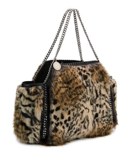 Small Falabella Snow Cat Fur Free Fur Reversible Tote Bag