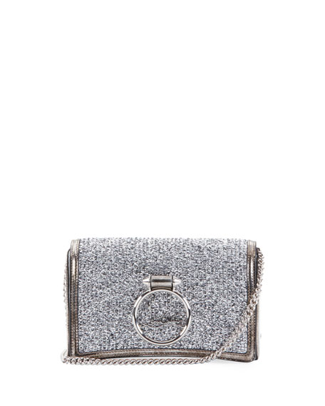 Christian Louboutin Ruby Lou Glitter Clutch Bag