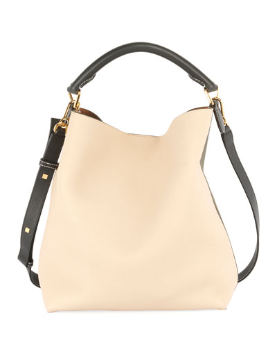 T Colorblock Leather Bucket Bag, Khaki