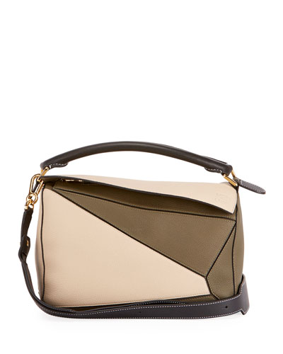 Puzzle Small Colorblock Grained Leather Satchel Bag