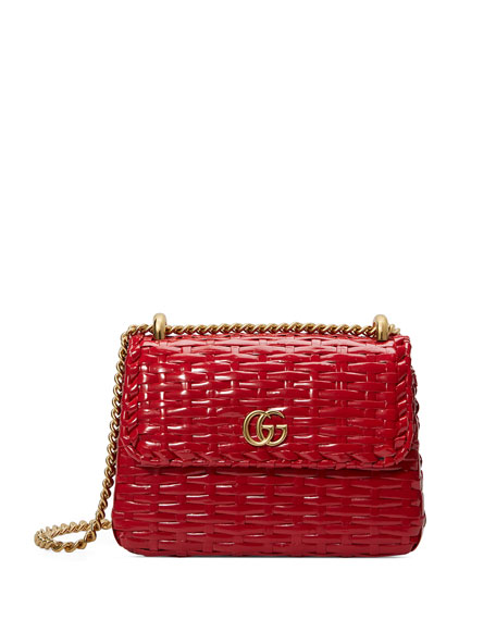 Small Linea Cestino Glazed Wicker Shoulder Bag - Red
