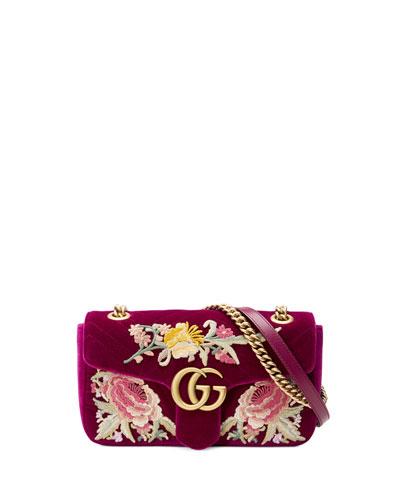 GG Marmont Velvet Floral Shoulder Bag