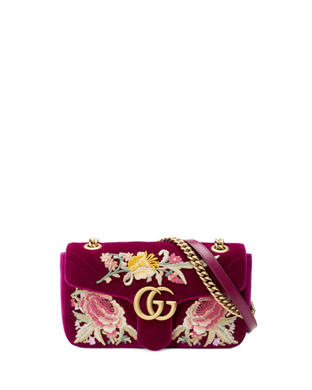 Small Gg Marmont 2.0 Matelasse Velvet Shoulder Bag - Pink