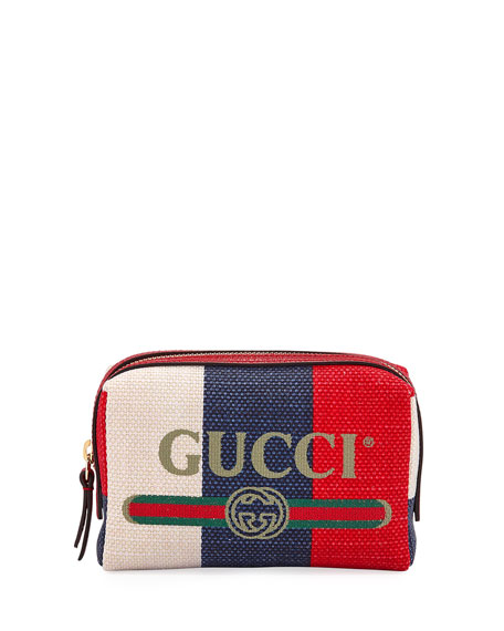 Gucci Linea Merida Canvas Striped Cosmetics Bag