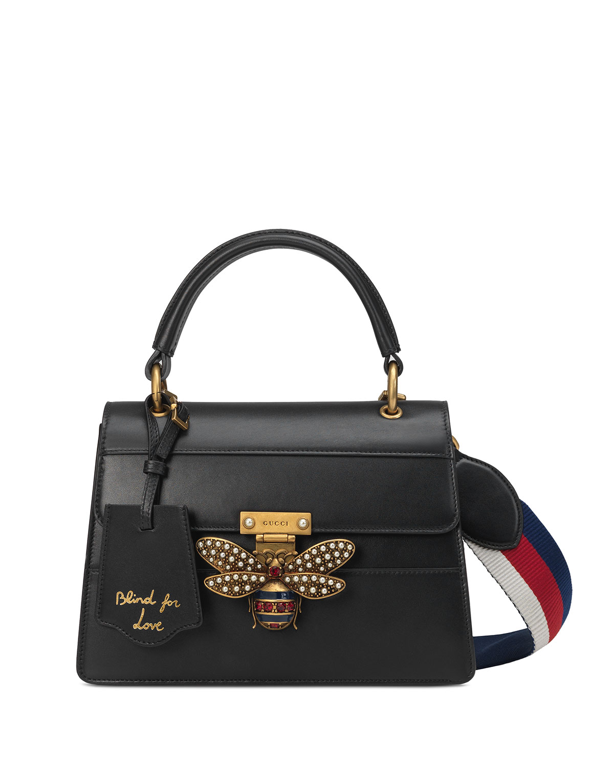 bd429745004 Gucci Queen Margaret Small Leather Top-Handle Bag with Bee
