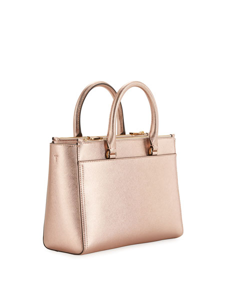 Robinson Small Metallic Saffiano Double-Zip Tote Bag