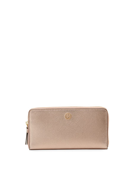 Robinson Metallic Leather Continental Zip Wallet by Tory Burch
