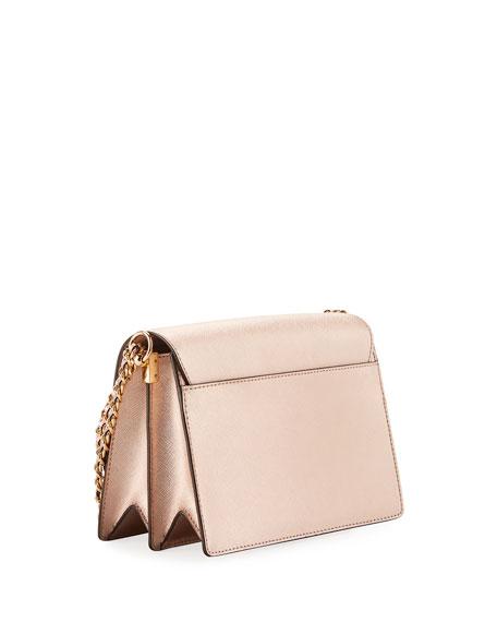 Robinson Metallic Leather Flap Shoulder Bag