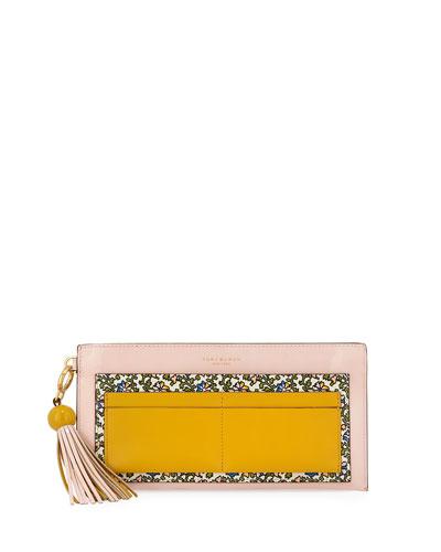 Colorblock Printed Top Zip Wallet with Tassel