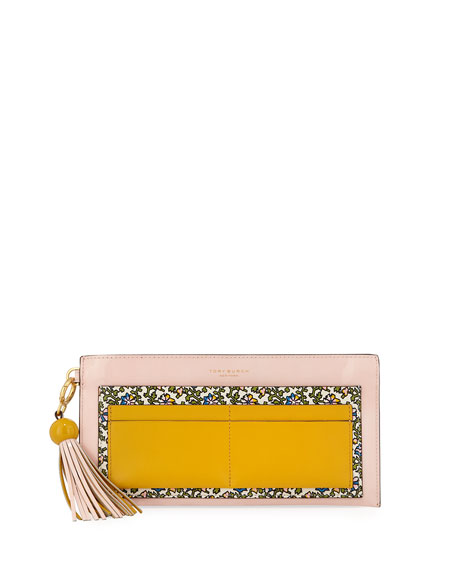 Colorblock Printed Top Zip Wallet with Tassel