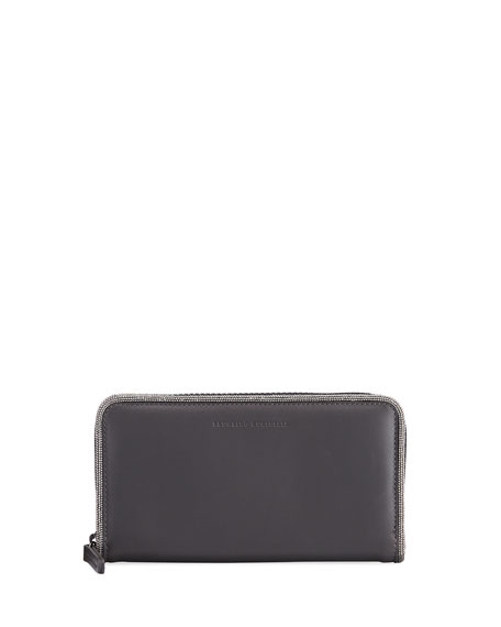 Brunello Cucinelli Large Leather and Monili Wallet