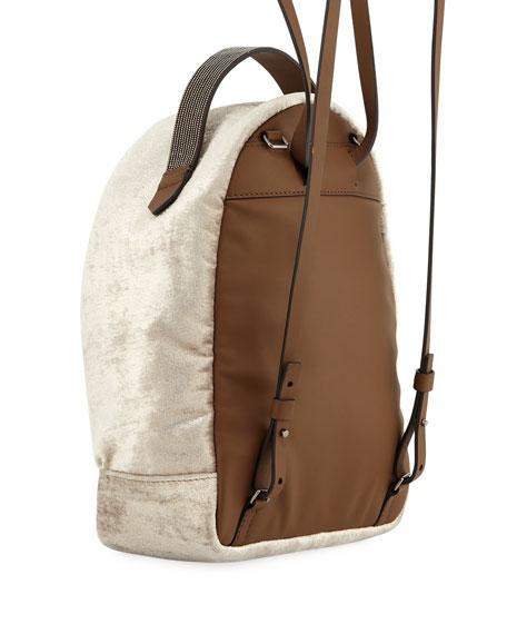 Medium Velvet Backpack with Monili Strap