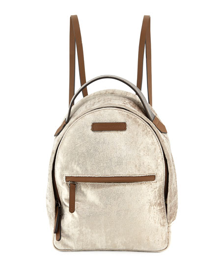 Brunello Cucinelli Medium Velvet Backpack with Monili Strap
