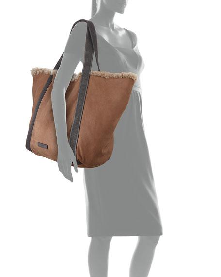 Reversible Shearling Fur Tote Bag