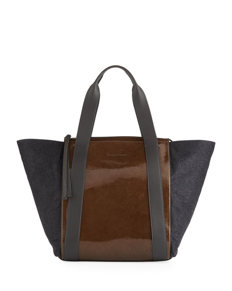 PATENT AND METALLIC LEATHER TOTE BAG