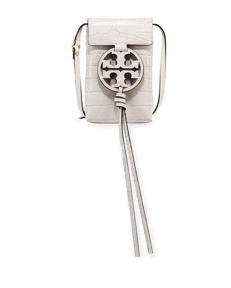 Miller Embossed Crossbody Leather Phone Bag - White, New Ivory