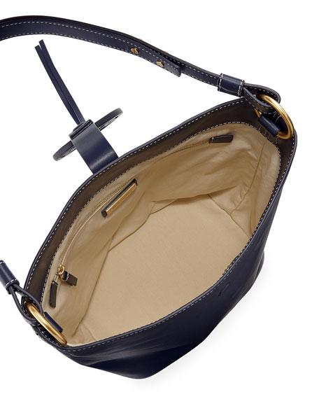 Miller Smooth Leather Tassel-Tab Shoulder Hobo Bag