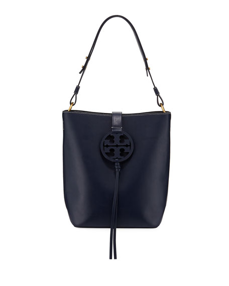 1f2009153ff7 Tory Burch Miller Smooth Leather Tassel-Tab Shoulder Hobo Bag In Royal Navy