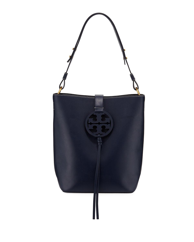 Tory Burch Miller Smooth Leather Tassel-Tab Shoulder Hobo Bag ... abf69ce483