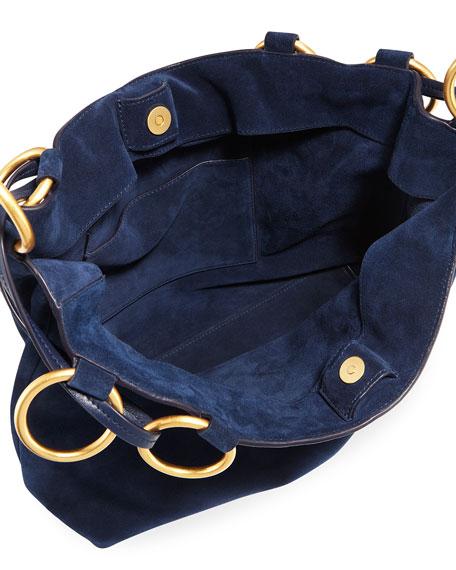 Farrah Silky Suede Shoulder Tote Bag