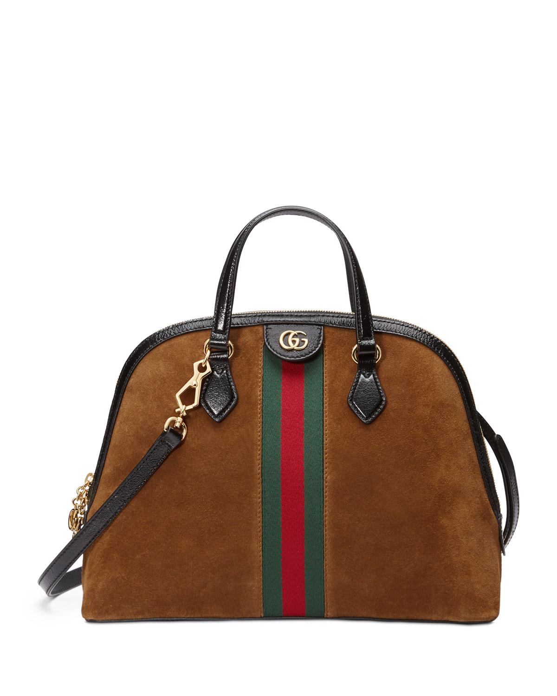 d0a6e6be361 Gucci Ophidia Medium Web Suede Top-Handle Bag