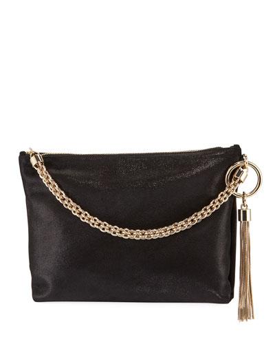 Callie Shimmer Suede Shoulder Bag