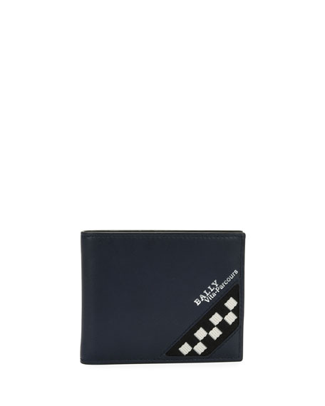 Men's Bevye Leather Bi-Fold Wallet with Checker Detail, Navy