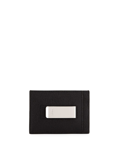 Men's Leather Card Case with Money Clip