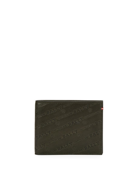 Men's Bevye Logo Leather Bi-Fold Wallet, Black