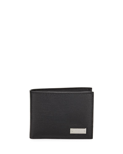 Men's Bevye Embossed Leather Bi-Fold Wallet, Black
