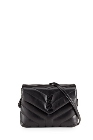 Saint Laurent Loulou Toy Matelasse Calfskin Flap-Top Shoulder Bag, Black Hardware
