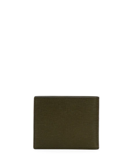 Men's Bevye Embossed Leather Bi-Fold Wallet, Green