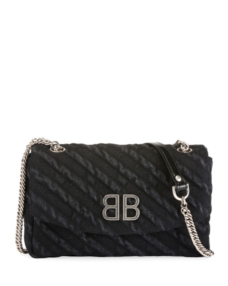 BB Chain Destroyed Denim Crossbody Bag