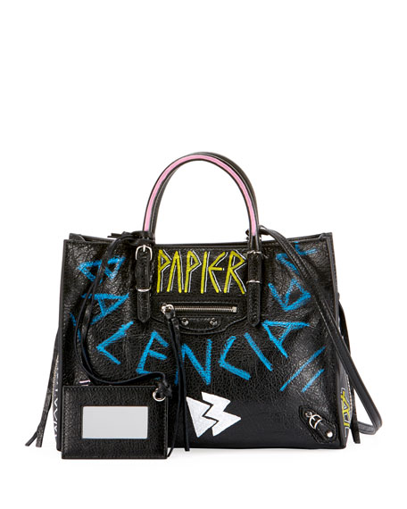 Balenciaga Papier A6 Zip Around Graffiti Tote Bag