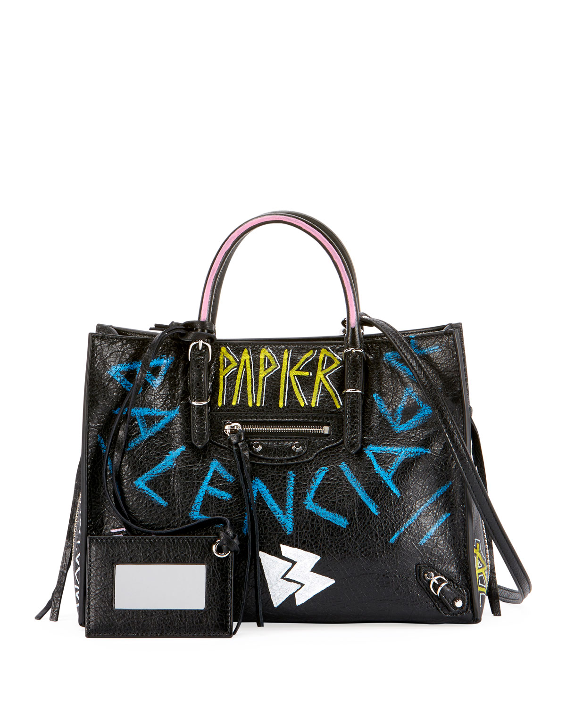 7307106a58ba Balenciaga Papier A6 Zip Around Graffiti Tote Bag