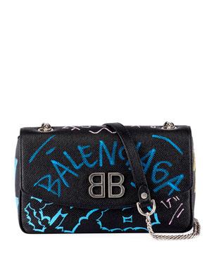 c55834b47be2 Balenciaga BB Graffiti Leather Wallet on Chain