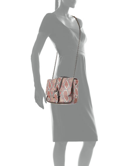 Amazon Python Mini Crossbody Bag, Blush