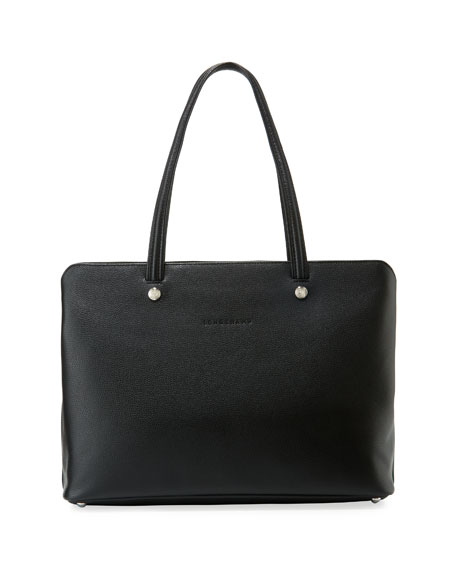 LONGCHAMP LE FOULONNE ZIP AROUND LEATHER TOTE - BLACK