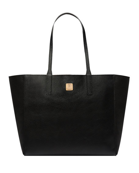 Medium Metallic Leather Wandel Reversible Koppelene Shopper in Black