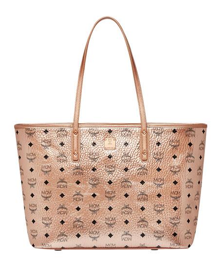 MCM Anya Medium Visetos Zip Shopper Tote Bag