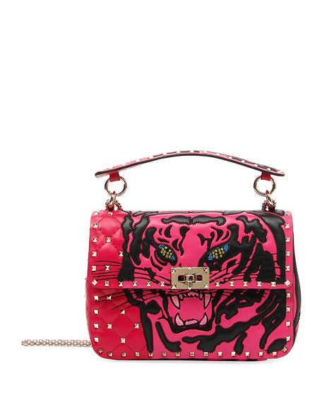 Rockstud Tiger Leather Shoulder Bag