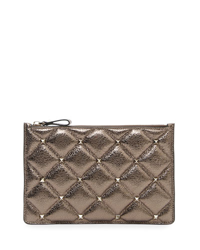 Candystud Medium Flat Metallic Leather Pouch Bag