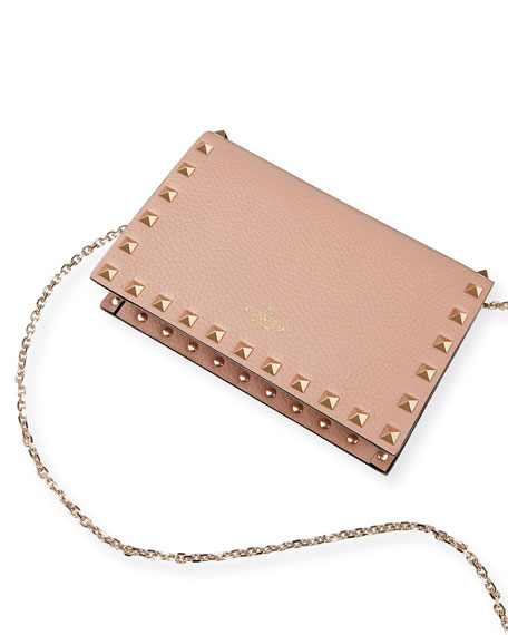 Valentino Garavani Rockstud Small Leather Flap Wallet on a Chain