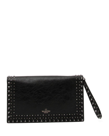 Rockstud Beaded Leather Wristlet Clutch Bag
