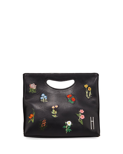 1712 Basket Napa Embroidered Clutch Bag
