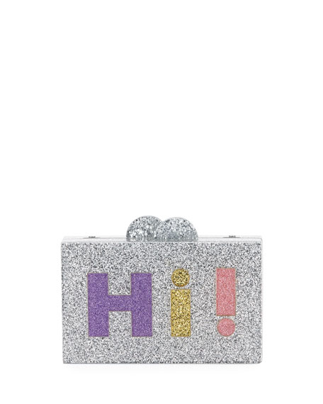 Girls' Hi/Bye Glittered Acrylic Box Clutch Bag