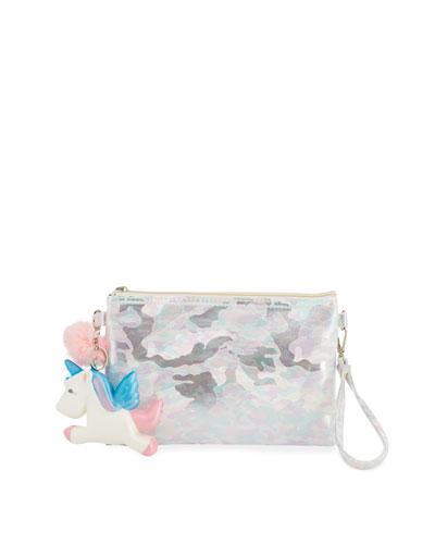 Girls' Camo Pouch Bag w/ Fur Pompom & Squeeze Unicorn