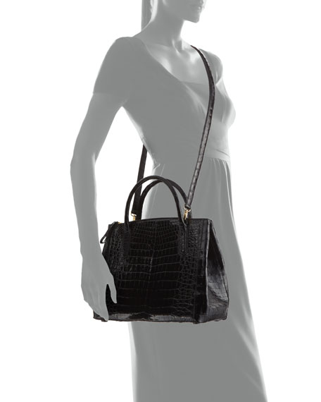 Nix Medium Zip Crocodile Tote Bag